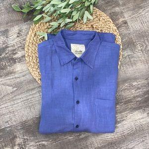 Tasso Elba Island linen shirt blue size Large